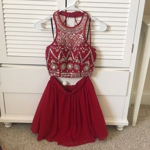 Red Two-Piece Homecoming Dress